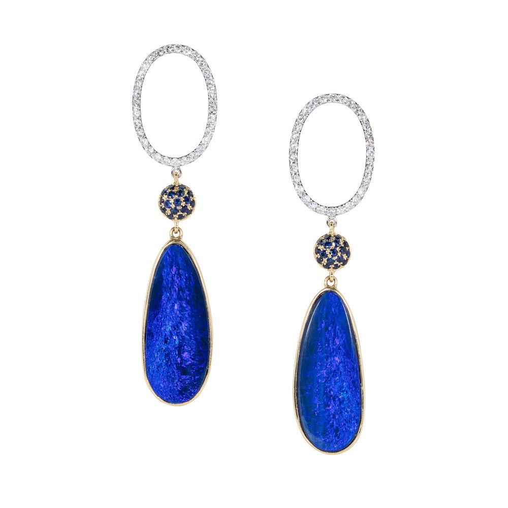 澳大利亚欧泊,18K黄金镶嵌钻石,蓝宝石耳环
