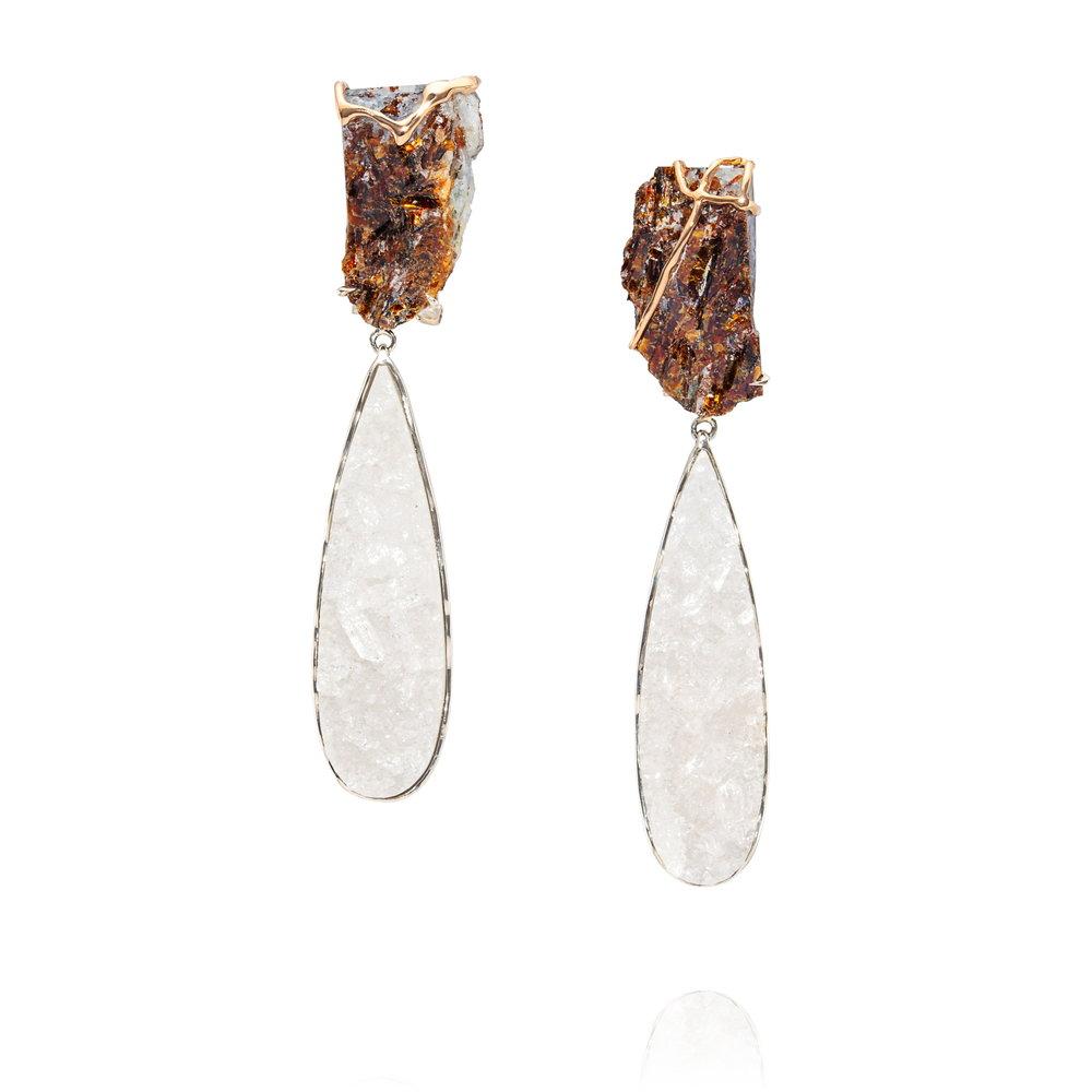 千堆雪  来自德国的星叶石,白色水晶晶簇,18K黄金镶边,925银镶嵌耳坠