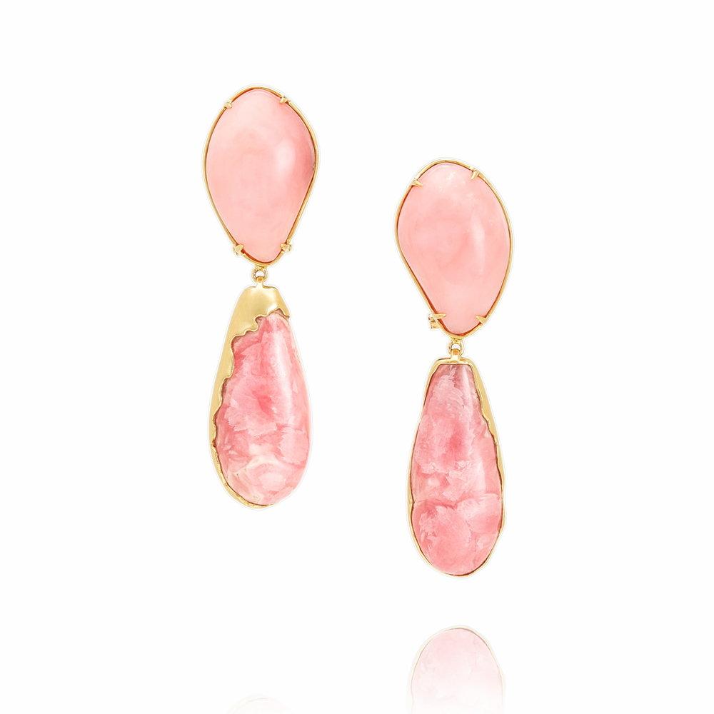可爱深红爱浅红  粉色蛋白石,红纹石,18K 黄金耳坠