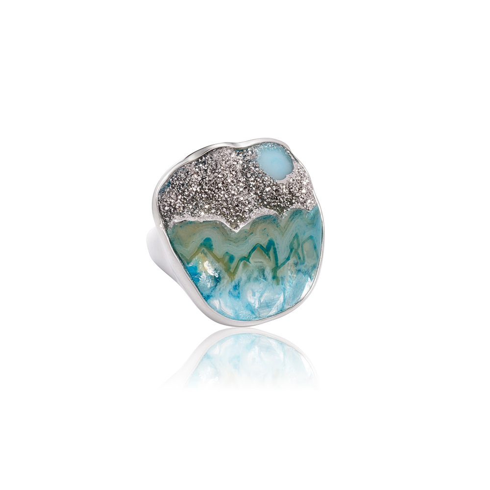 玛瑙晶簇与金属铂,925银镀18k白金戒指