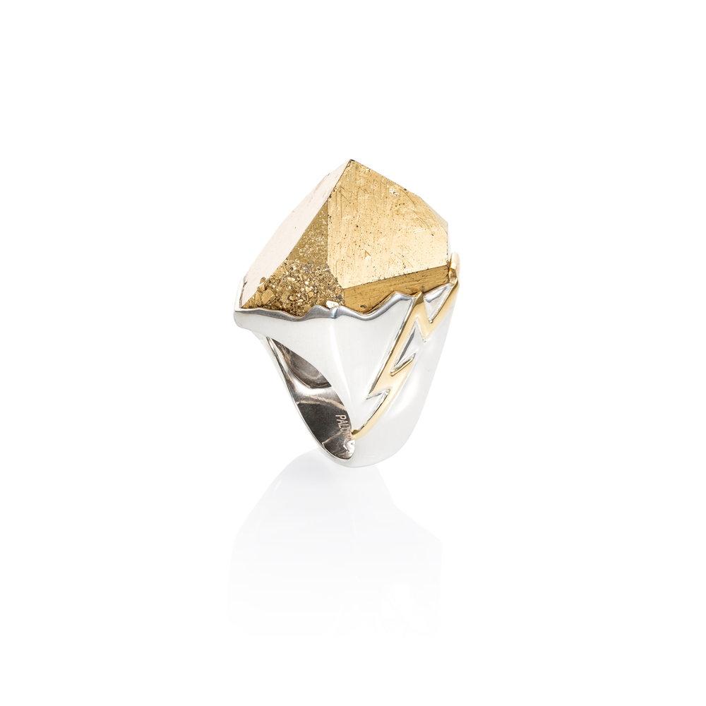"""水晶顶端镀金,18K金""""闪电""""戒托,925银戒圈"""
