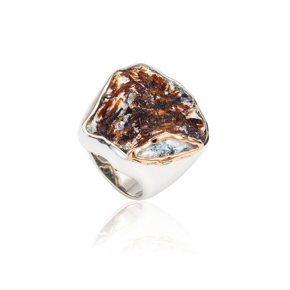 惊涛拍岸  来自德国的星叶石,925银镶嵌戒指