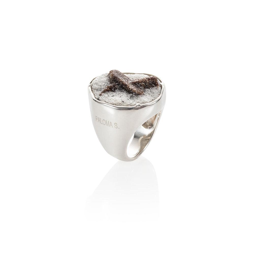 925银镶嵌十字石戒指