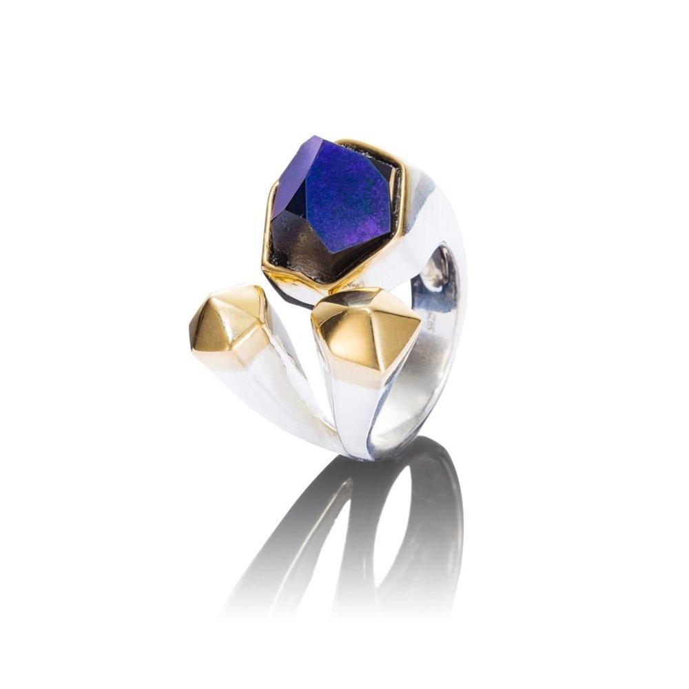 魔力  戒指 水晶晶体镀钛,18K黄金,925银镀18K白金戒托