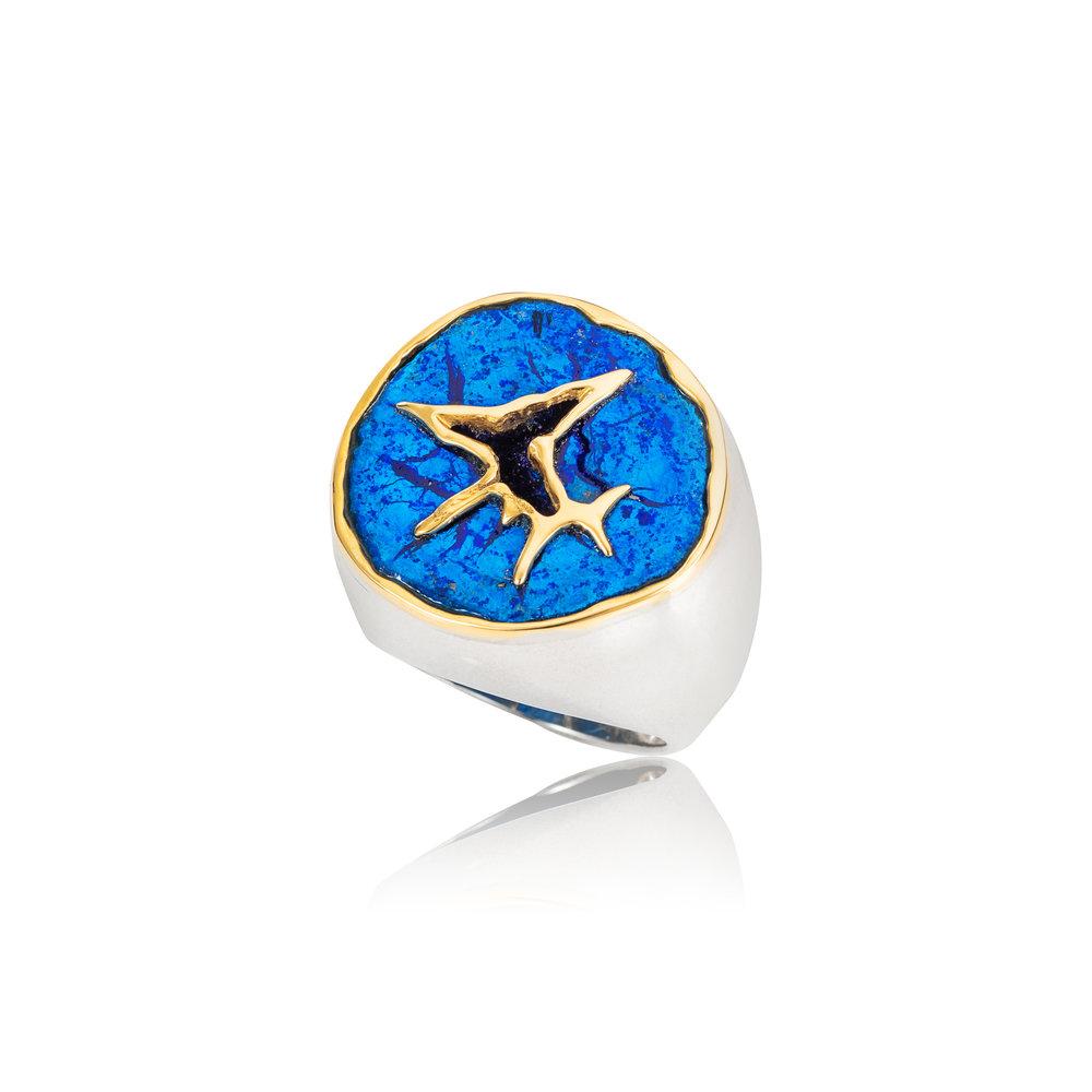 德国蓝铜矿晶洞,18K黄金镶边,925银戒指
