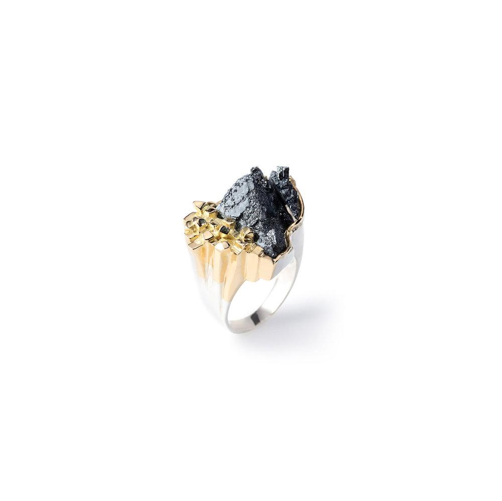 阿根廷磁铁矿/赤铁矿,18k黄金戒托,925银镀18k黄金戒指