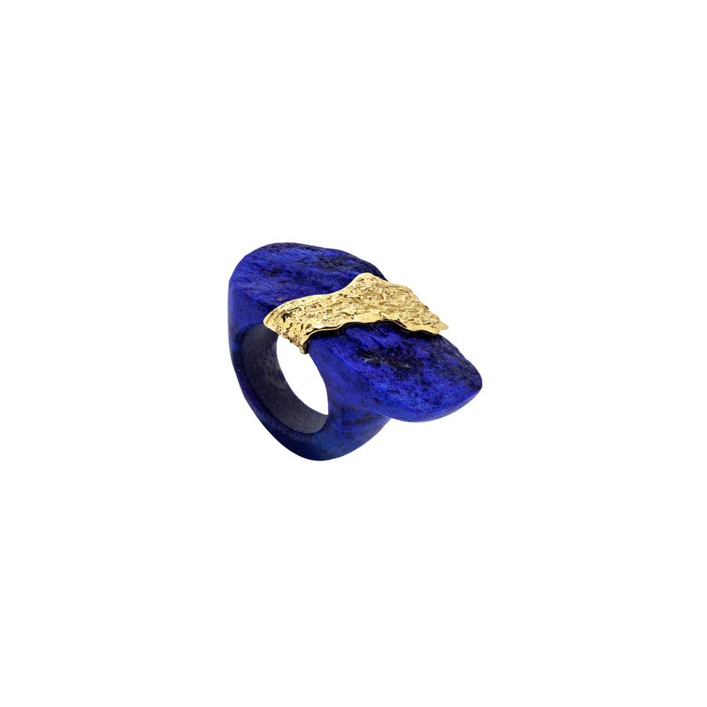 阿富汗青金石戒指,18K黄金镶嵌