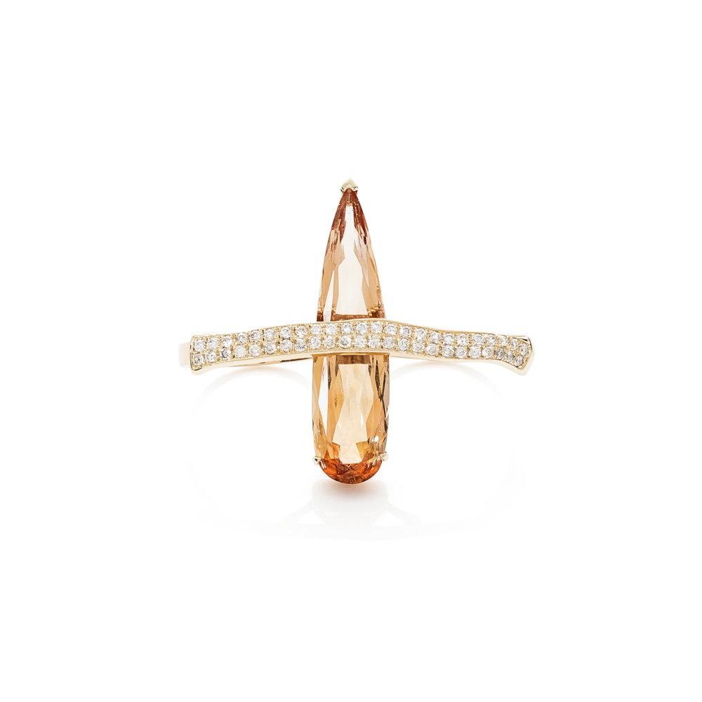 巴西天然帝王托帕石,滴锥形切工(11克拉),18k黄金镶钻石双指戒指