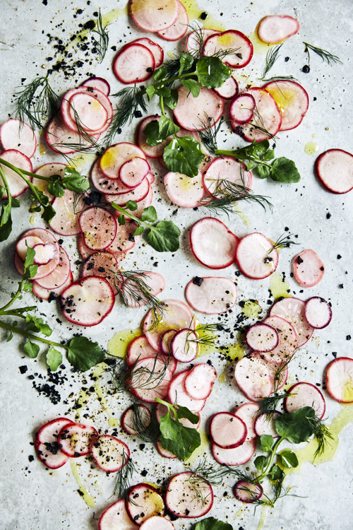 Deconstructed pink raddish and watercress salad.