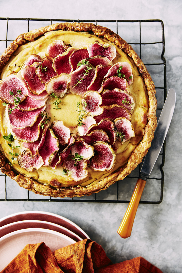 cauliflower and roasted fennel  tart, topped with watermelon rad
