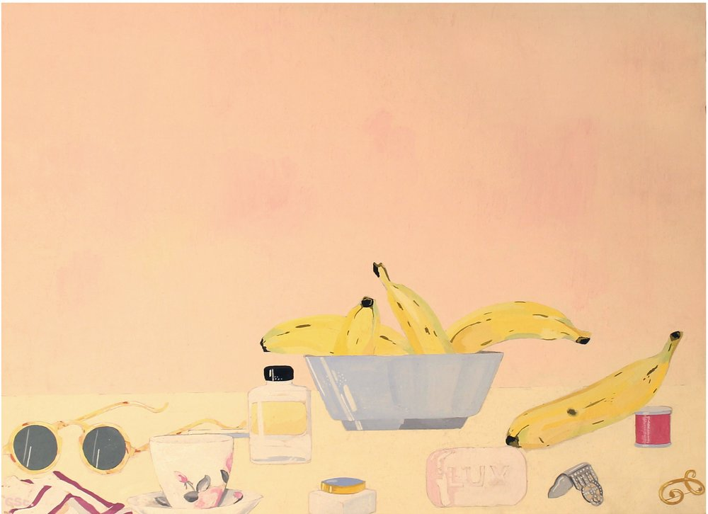 Still Life with Bananas, 1974, emulsion & watercolour on board, 50x40