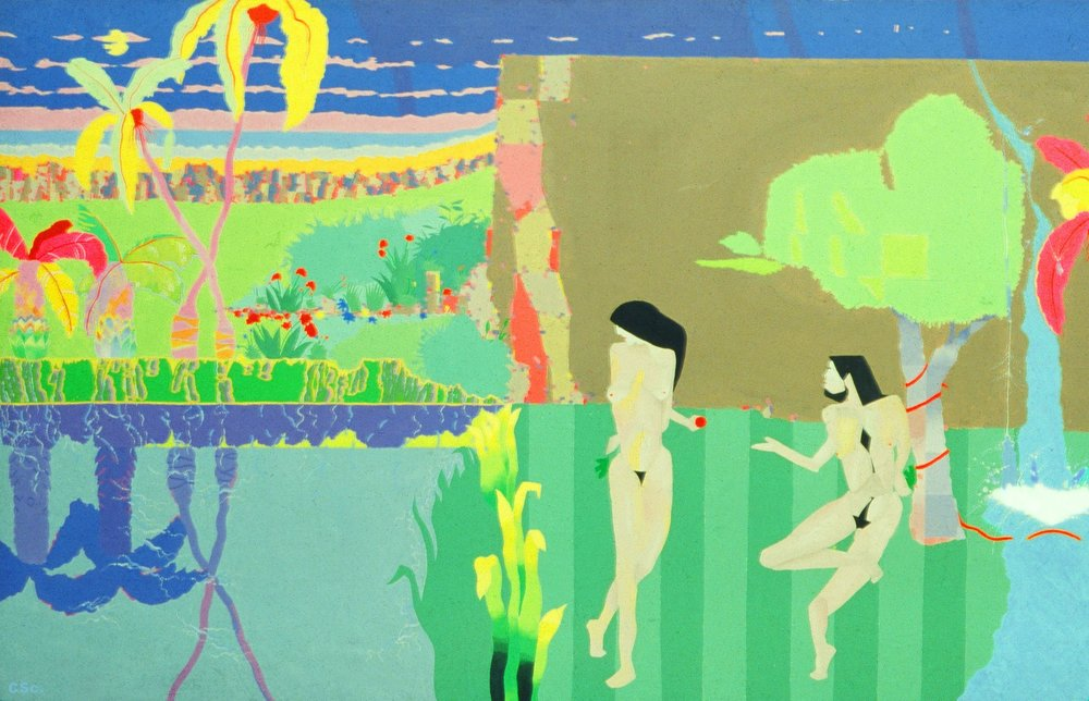 Garden of Eden, 1978, acrylic on canvas, 150x75cm