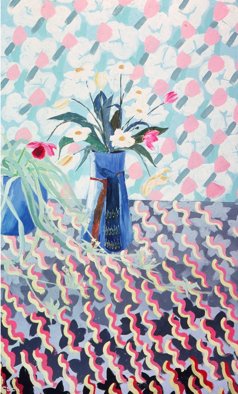 Flowers Against Wallpaper, 1978, acrylic on canvas, 130x80cm