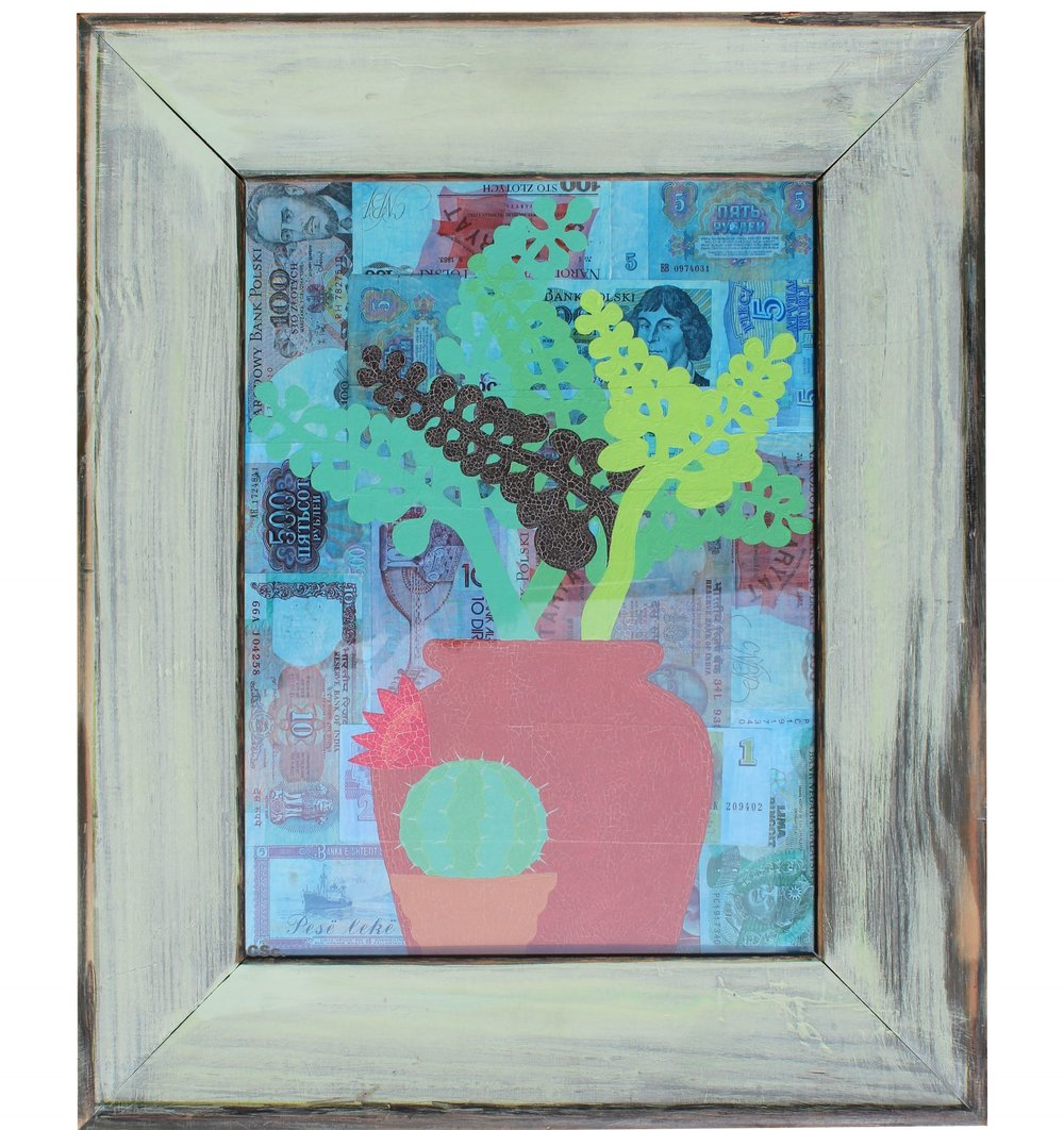 Money Plant, 2005, mixed media, 40x30cm