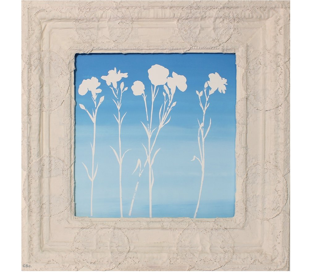 The Flying Pinks, 2013, emulsion & water colour on board in antique Lace frame, 60x60cm