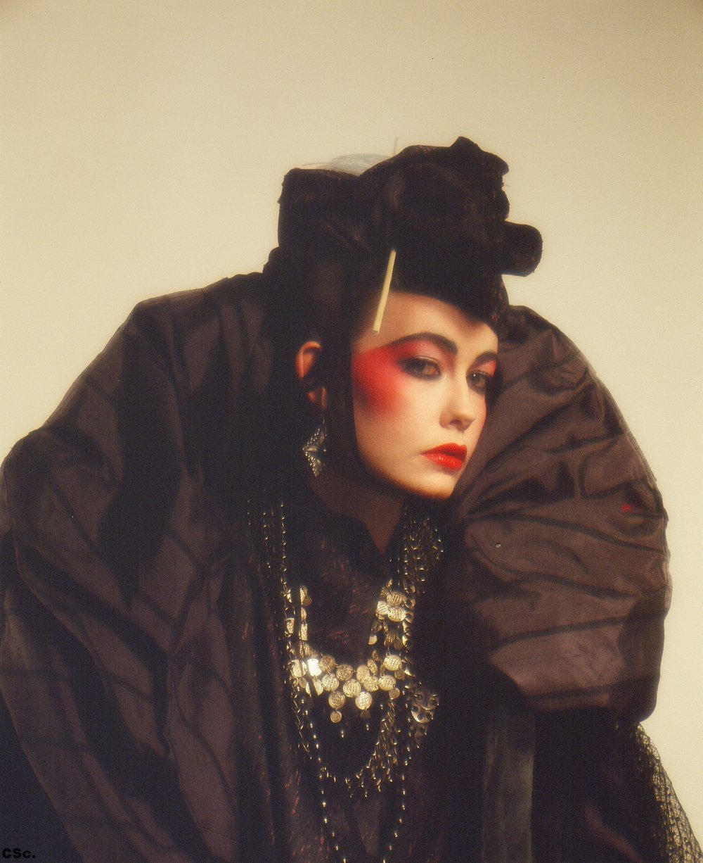 Raw Silk Jacket, Hat, Necklace, 1979, Photo by Anthony Dalton