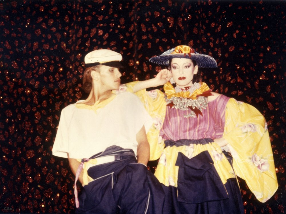 Amanda Coe and Pretty Male Model, 1984, Piccadilly Theatre