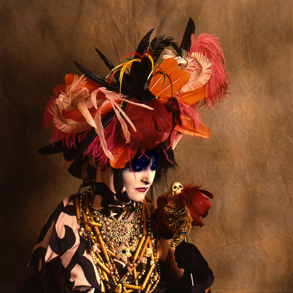 Siouxsie Sioux in voodoo headdress and accessories by colin swift, photo by joe lyons, 1986