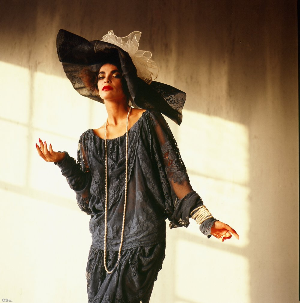 Lynn Wearing Charcoal Grey Antique Lace Dress and Hat, photo by Joe Lyons, 1986
