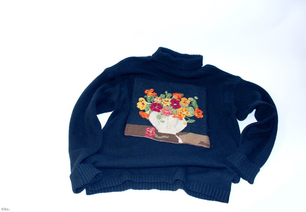 Wool polo neck with cotton embroidered image, 2014