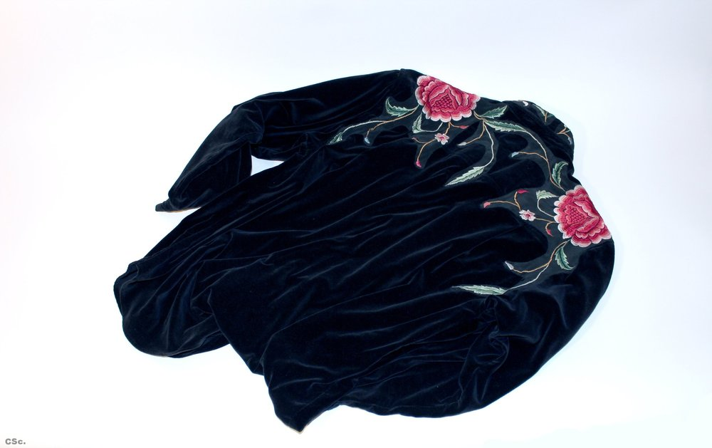 Black velvet shirt with appliqué silk Spanish shawl, 1998