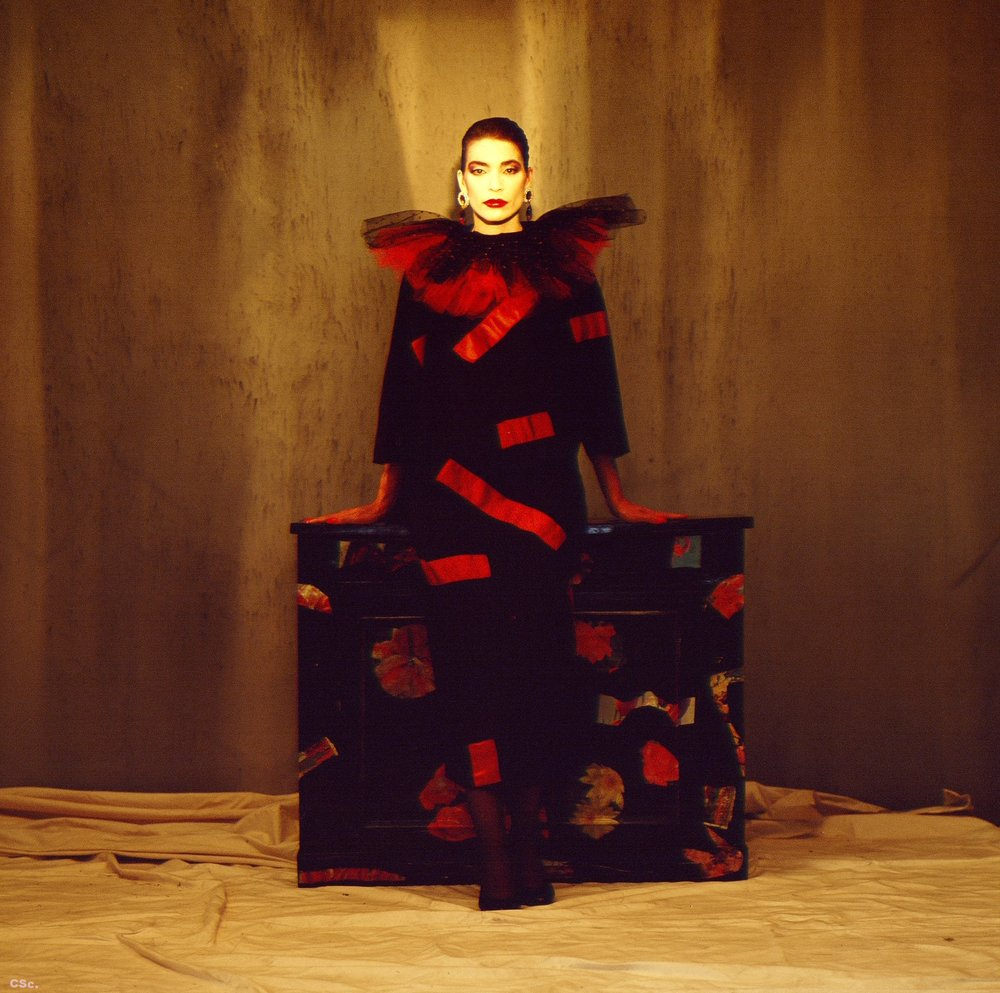Black silk dress with red patches and tuille collar, 1986, photograph by Joe Lyons