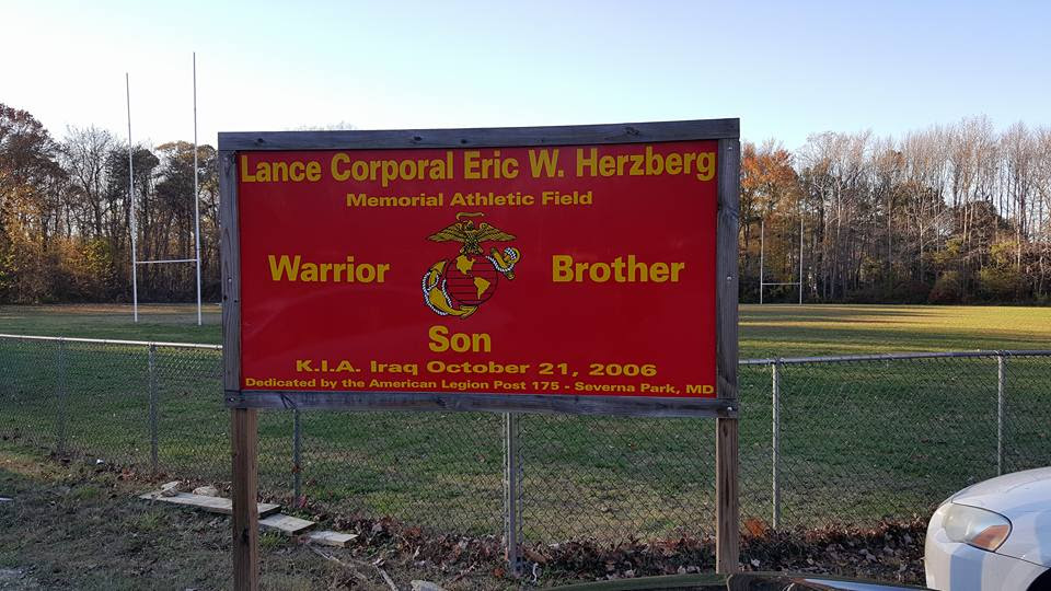 LCpl Eric W. Herzberg Memorial Pitch, Severna Park, MD