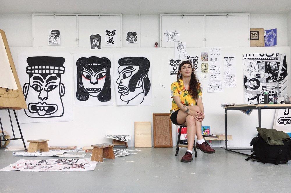 Portrait at her studio in Musabi University in Kodaira, Tokyo