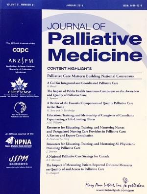 L'importance des soins palliatifs dans le Journal of Palliative Medicine - Un numéro spécial sur L'Importance des soins palliatifs du Journal of Palliative Medicine intitulé «Palliative Care Matters: Building a National Consensus » est maintenant disponible en ligne. Ce numéro rassemble douze articles relevant de trois grandes catégories liées au projet de L'Importance des soins palliatifs: 1. une introduction à l'opinion publique et à la conférence visant à forger un consensus; 2. les méthodes utilisées pour réaliser l'examen scientifique de L'Importance des soins palliatifs et l'évaluation du projet de L'Importance des soins palliatifs et 3. les versions scientifiques soumises à un comité de lecture des conclusions et des données probantes présentées par le groupe d'experts. Cliquez ici pour les consulter.