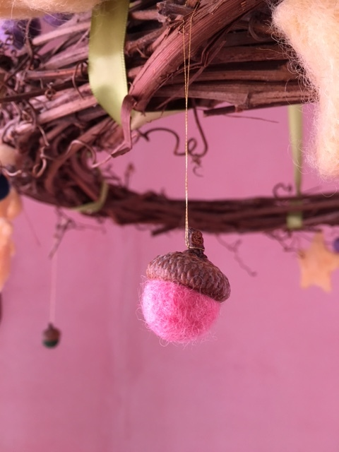 Photo of a felted acorn in the Nursery classroom by Nursery Teacher Rebecca Ruof.