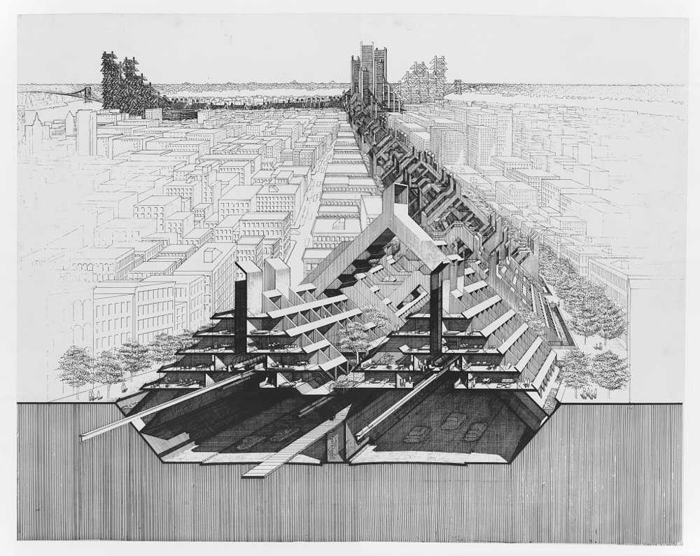 Lomex: Lower Manhattan Expressway, proposed 1962  source:  http://www.boweryboyshistory.com/2017/04/citizen-jane-new-film-explores-legacies-moses-jacobs.html   see also   https://www.curbed.com/2016/5/4/11505214/jane-jacobs-robert-moses-lomex