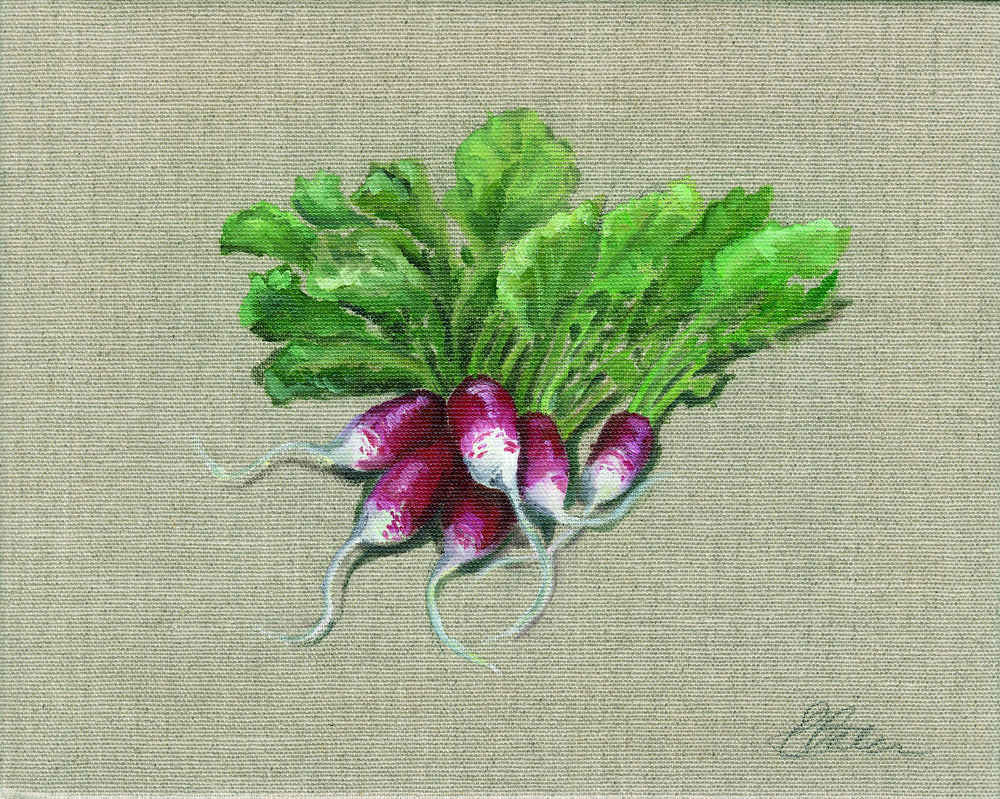 Radishes. Oil on hessian canvas. Original Sold Prints available