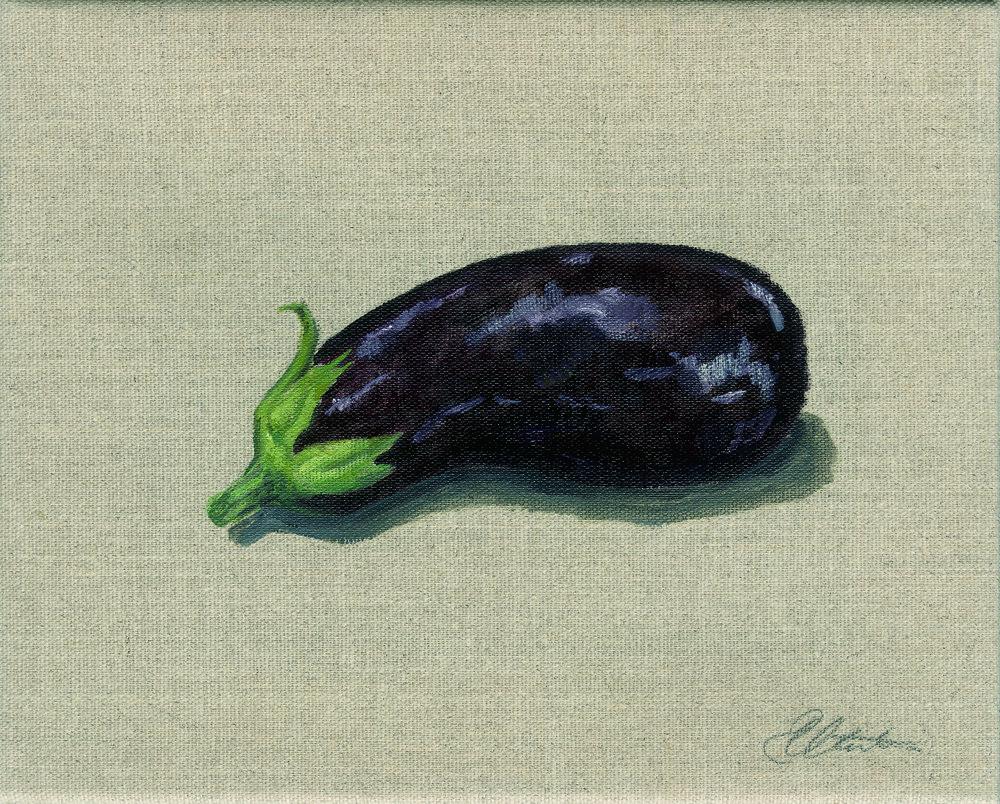 Aubergine.. Oil on hessian canvas. Original Sold Prints available