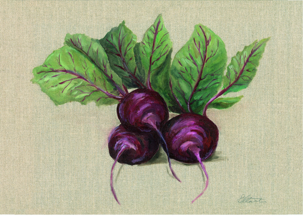 Beetroots. Oil on hessian canvas. Prints available