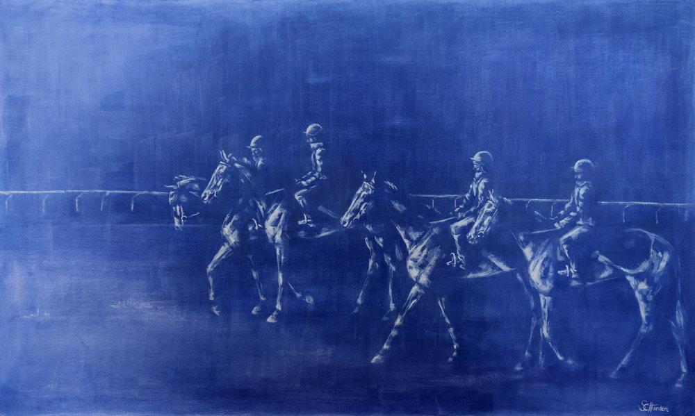'First Lot on Newmarket Heath' Oil on Canvas Framed
