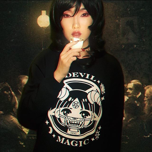 Another shot of the lovely @imitationangel wearing our Devil Magic sweatshirt! 👹 Restock will be made in January‼️ Thank you for your patience 💕
