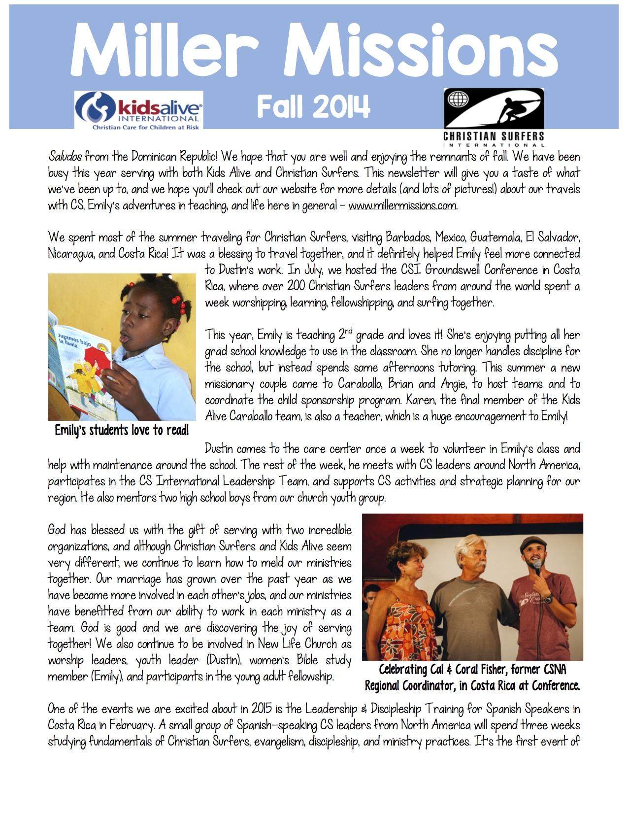 Miller fall 2014 newsletter