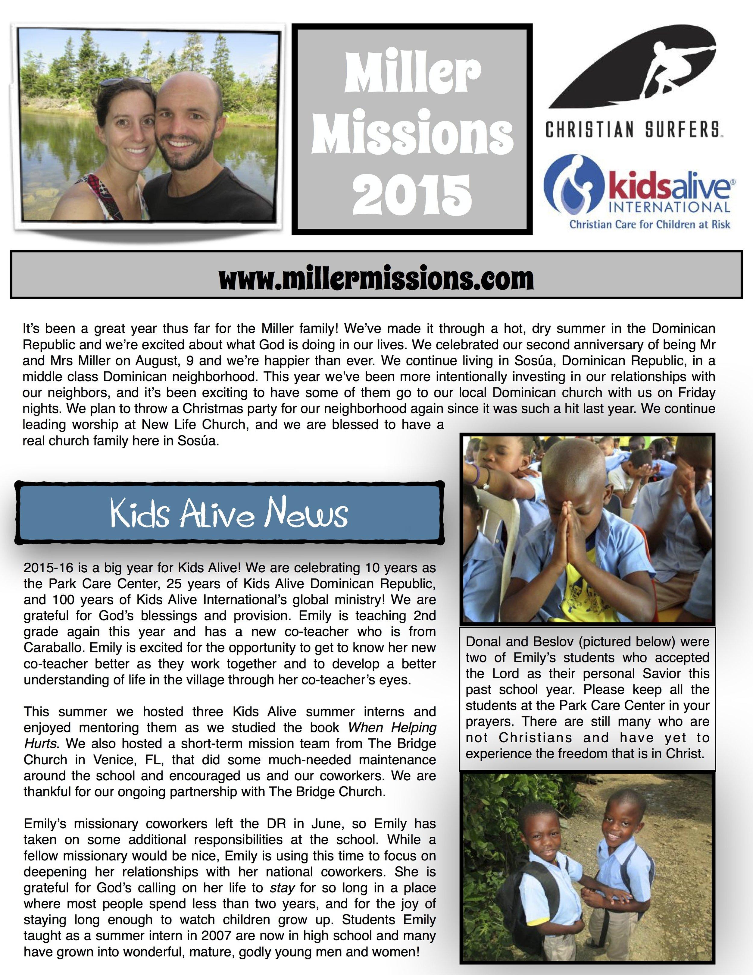 Miller newsletter 2015