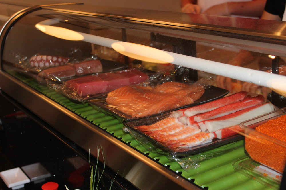 Our sushi cases are brimming with delicious fish selections