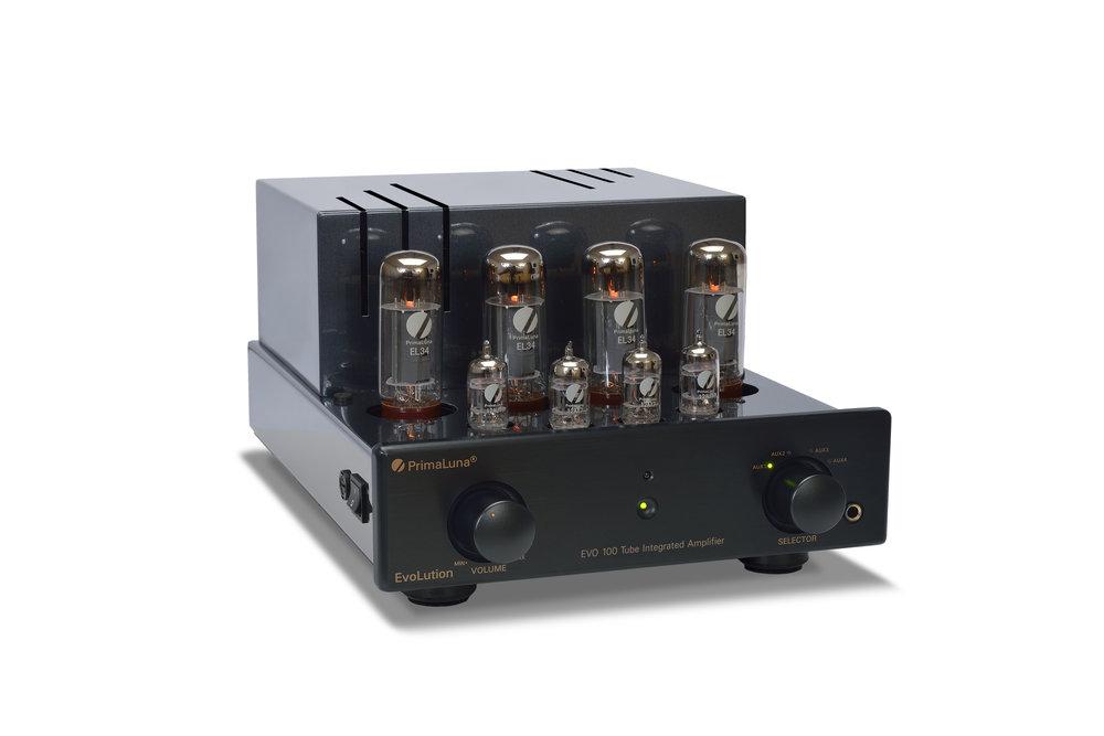 163b - PrimaLuna EVO 100 Tube Integrated Amplifier - black - slanted - without cage - white background.jpg