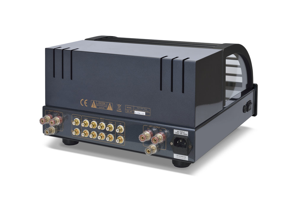 117b - PrimaLuna Evo 200 Tube Integrated Amplifier - black - back - slanted - white background.jpg