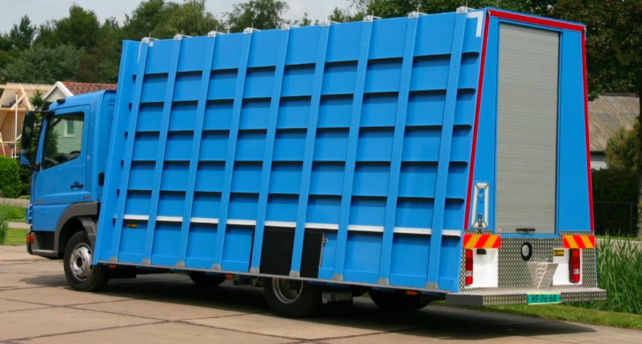 Glasrestelen vrachtwagen blauw