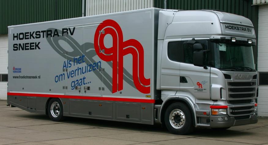Voorbeeld van een gesloten carrosserie, met maatwerkaanpassingen tot verhuiswagen