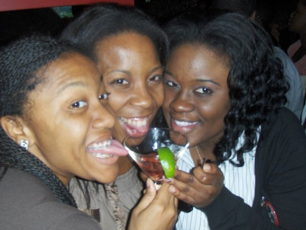 Tameka, Edtience, and me on Election Night 2008 at Happy Hour on U Street.