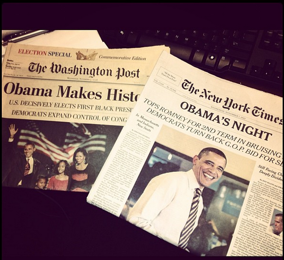 Newspapers I collected after Obama's historical wins. Picture taken the day after Obama won his second term November, 2012.