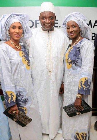 President Adama Barrow and wives Fatoumatta Bah and Sarjo Mballow at his inauguration.
