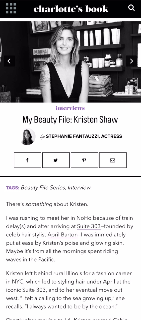 CHARLOTTE'S BOOK: MY BEAUTY FILE: KRISTEN SHAW