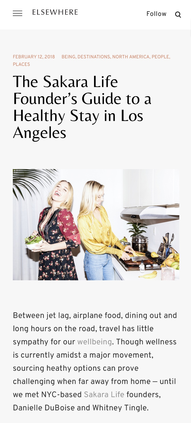 ELSEWHERE: THE SAKARA LIFE FOUNDER'S GUIDE TO A HEALTHY STAY IN LOS ANGELES