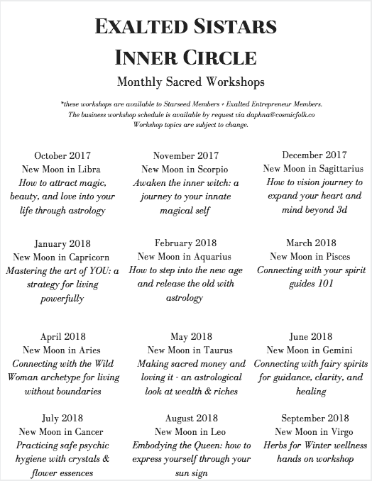 exalted sistars workshop schedule 17-18