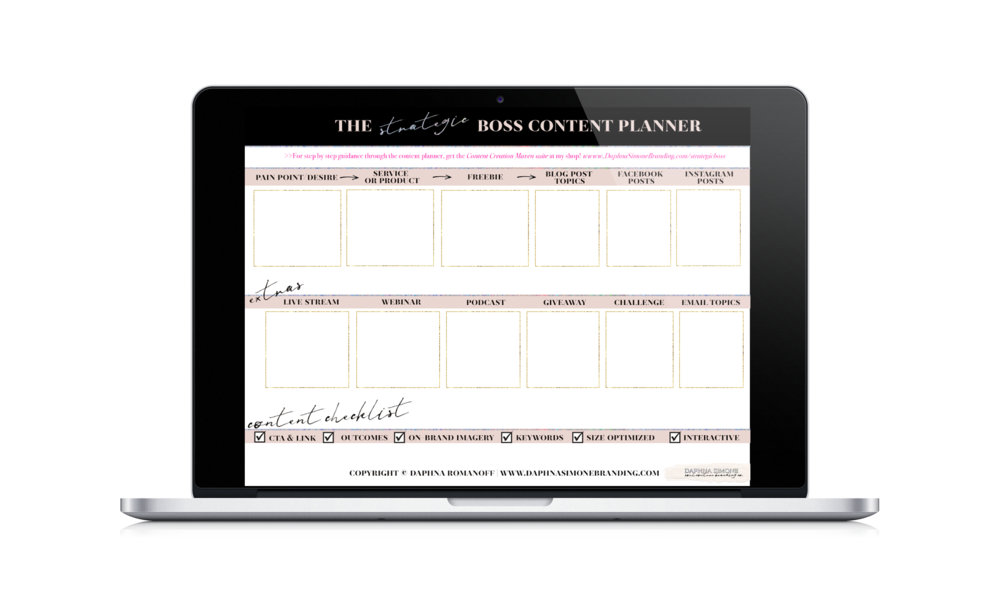 Download the strategic boss content planner for planning your content + pitches based on your offerings